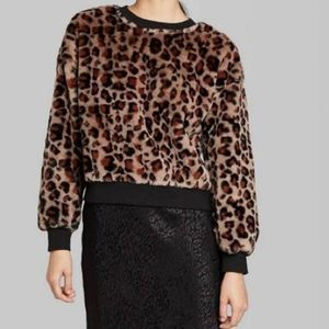 Wild Fable Faux Fur Animal Print Sweatshirt XL